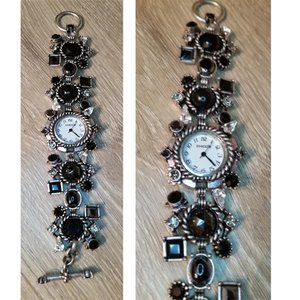 Chico's antique silver tone faux gemstone watch